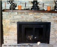 AFTER installing Fuego Flame Fireplace Insert featuring patented non-electric blower