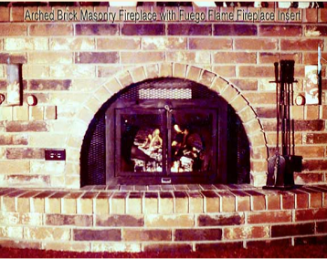 Arched masonry fireplace with Fuego Flame Fireplace Insert