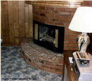 Fuego Flame fireplace insert, set up to burn gas logs