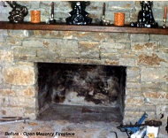 Field Rock fireplace opening, prior to installing Fuego Flame Fireplace Insert